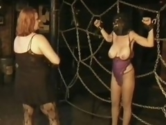 Three Domineer Breasty MILFs Take a crack at Fun In a Thraldom Sex Dungeon