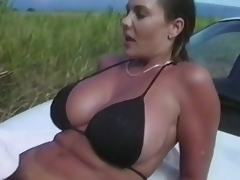 Nothing can stop this couple to do some tricky fucking.  Here they are, in the grassy outdoor... trying to do an adventurous fuck again, and satisfy their cravings.  There's more... take a little peep as they try to fuck right on top of the car, under the