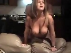 Mature bitch with large natural billibongs is fucked from behind, her fellow is rough with her.