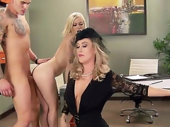 Ash Hollywood,Brandi Love and Clover in outstanding hardcore three-some porn action