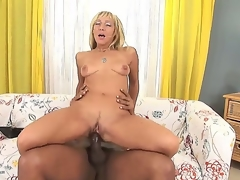 Superb blonde milf Kristina Dark enjoys black hunk in amazing interracial hardcore