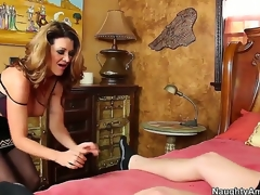 Raquel DeVine seduces Xaner Corvus and shows him how a spruce MILF works a dick. She keeps her nylons on as this babe blows him and gives him a titjob before jumping on his cock for a ride.