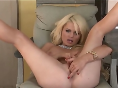 Turned on naked blond Alexis Ford with red nails and pierced belly button widens long legs whilst teasing lover in pint of view and fingers shaved pink honey pot to orgasm.