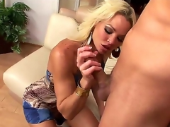 Chris Johnnson gets enticed by an experienced cougar Rhylee Richards and this babe gets all over his desirous strapon giving him all of the fun he can think of.