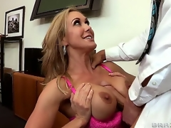Seductive attractive turned on cock hungry brunette hair milf Brandi Love with large juicy hooters and tight sexy body acquires her wet minge drilled hard by Johnny Sins with huge hard cock