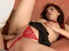 Gina Red is one insatiable mature brunette hair in hawt red thong panties. This babe gets her bald snatch screwed hard and deep in many positions by her hot blooded fuck buddy before she gets enough