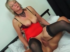 Mature honey in red underware rides boner