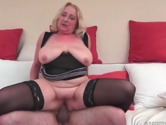 Big butt mature in black stockings fucked
