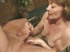 Woman copulates lad very vigorously
