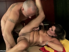 Samantha rides on his bone and then that guy fucks her legs up and drops a load