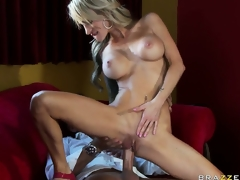 Hot blond MILF with tattoos and big silicone tits gets nailed in the restaurant
