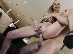 With fabulous large tits, she gets her juicy pussy fucked hard and deep from behind