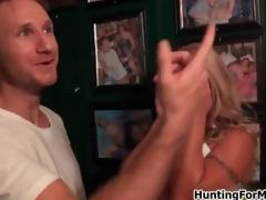 Busty blonde milf gets horny teasing