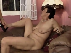 Dirty mature battle-axe gets horny sucking segment
